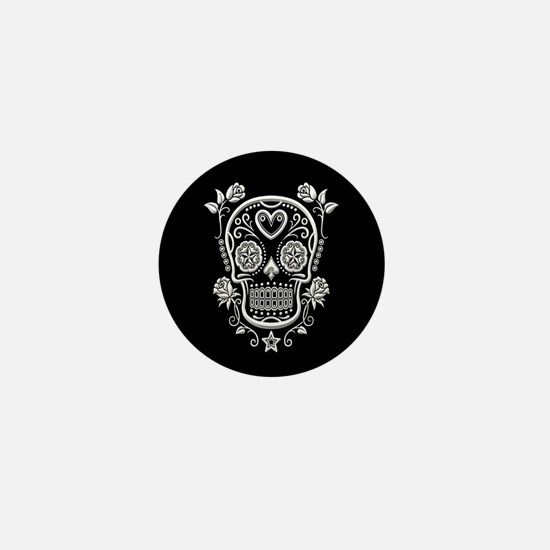 White Sugar Skull with Roses on Black Mini Button