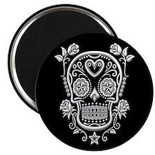 White Sugar Skull with Roses on Black Magnets