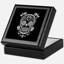 White Sugar Skull with Roses on Black Keepsake Box
