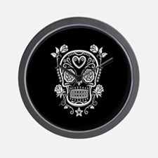 White Sugar Skull with Roses on Black Wall Clock