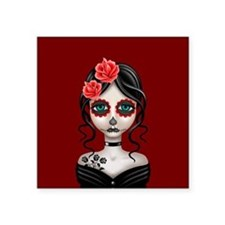 Sad Day of the Dead Girl Red Sticker