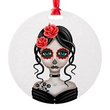 Sad Day of the Dead Girl White Ornament