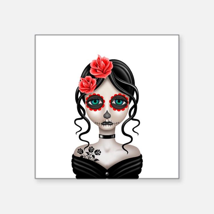 Sad Day of the Dead Girl White Sticker