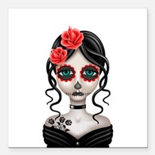 Sad Day of the Dead Girl White Square Car Magnet 3