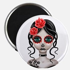Sad Day of the Dead Girl White Magnets