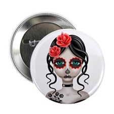 """Sad Day of the Dead Girl White 2.25"""" Button"""