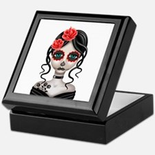 Sad Day of the Dead Girl White Keepsake Box
