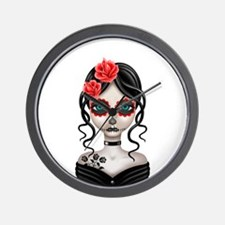 Sad Day of the Dead Girl White Wall Clock