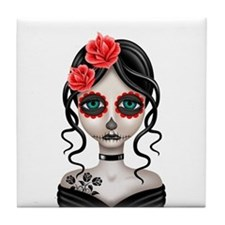 Sad Day of the Dead Girl White Tile Coaster