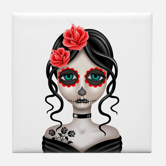 Sad Day of the Dead Girl White Tile Coaster