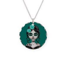 Sad Day of the Dead Girl Teal Blue Necklace