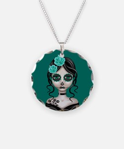 Sad Day of the Dead Girl Teal Blue Necklace Circle