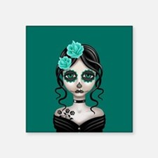 Sad Day of the Dead Girl Teal Blue Sticker
