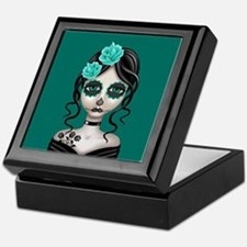 Sad Day of the Dead Girl Teal Blue Keepsake Box