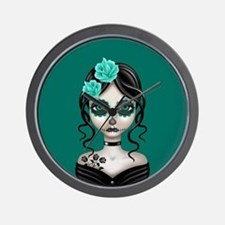 Sad Day of the Dead Girl Teal Blue Wall Clock