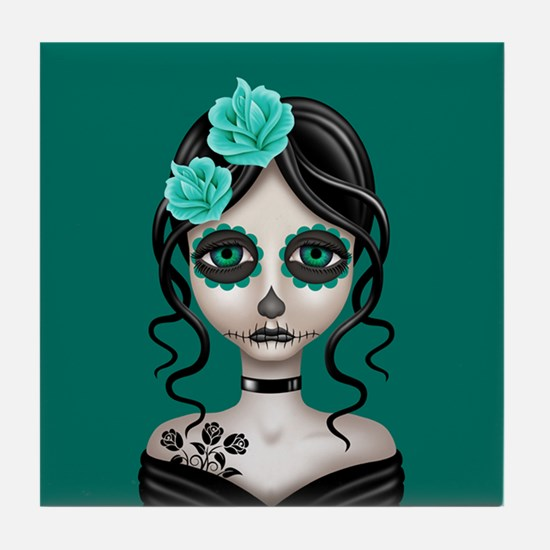 Sad Day of the Dead Girl Teal Blue Tile Coaster