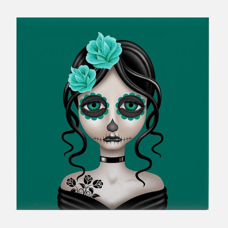 Sad Day of the Dead Girl Teal Blue Tile Coaster