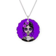 Sad Day of the Dead Girl Purple Necklace Circle Ch