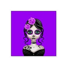 Sad Day of the Dead Girl Purple Sticker