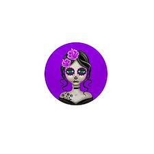 Sad Day of the Dead Girl Purple Mini Button