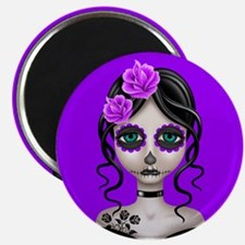 Sad Day of the Dead Girl Purple Magnets