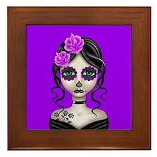 Sad Day of the Dead Girl Purple Framed Tile