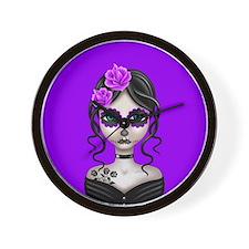Sad Day of the Dead Girl Purple Wall Clock
