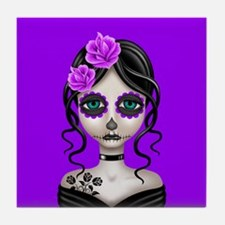 Sad Day of the Dead Girl Purple Tile Coaster