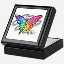 Rainbow butterfly with Puzzle piece Keepsake Box
