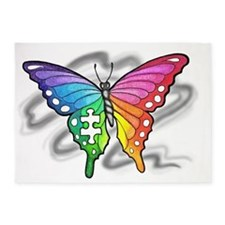 Rainbow butterfly with Puzzle piece 5'x7'Area Rug