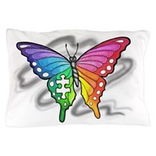 Rainbow butterfly with Puzzle piece Pillow Case