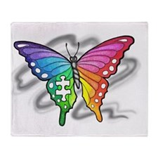 Rainbow butterfly with Puzzle piece Throw Blanket
