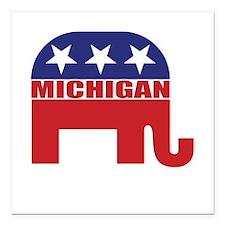 """Michigan Republican Elephant Square Car Magnet 3"""""""