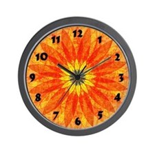 Golden Flower Burst Wall Clock