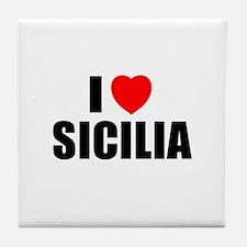 I Love Sicilia, Italia Tile Coaster