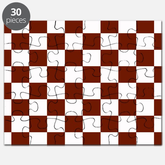 Brown and White Checkerboard Puzzle