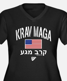 Krav Maga US Women's Plus Size V-Neck Dark T-Shirt