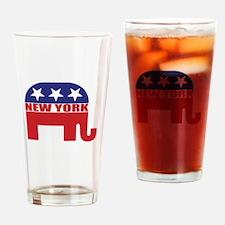New York Republican Elephant Drinking Glass