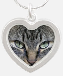 Main Coon Kitty Cat Silver Heart Necklace
