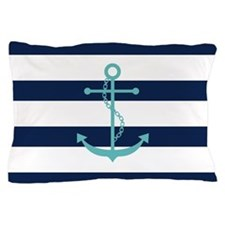 Blue Stripes And Teal Anchor Pillow Case