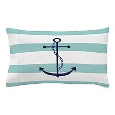 Blue Anchor On Mint Stripes Pillow Case