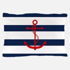 Red Anchor On Blue Stripes Pillow Case