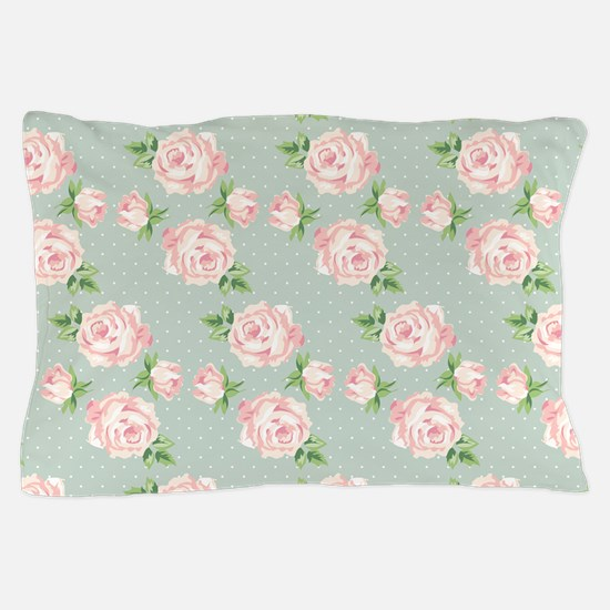 Mint Vintage Floral Pattern Pillow Casepillow Case