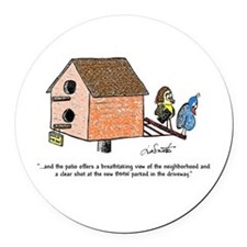 Flipping The Birdhouse Round Car Magnet