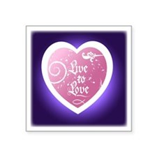 "Live to Love Heart on Purpl Square Sticker 3"" x 3"""