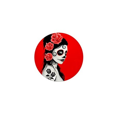 Day of the Dead Girl Red Mini Button (100 pack)