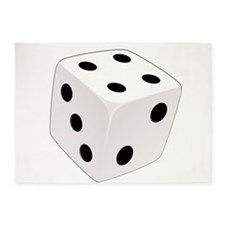 White Playing Dice 5'x7'Area Rug