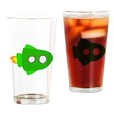 Green Rocket Ship Drinking Glass
