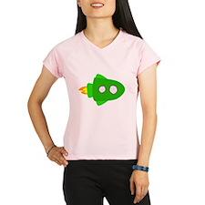Green Rocket Ship Performance Dry T-Shirt