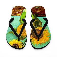 Van Gogh - Sunflowers (three) Flip Flops